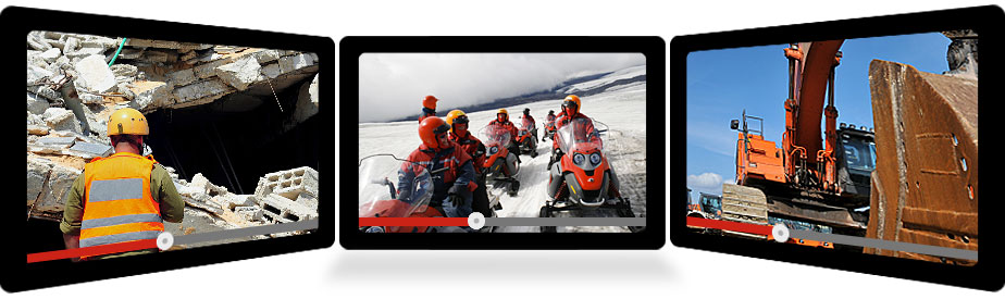 Screens showing videos of Rescue, Expedition and Construction