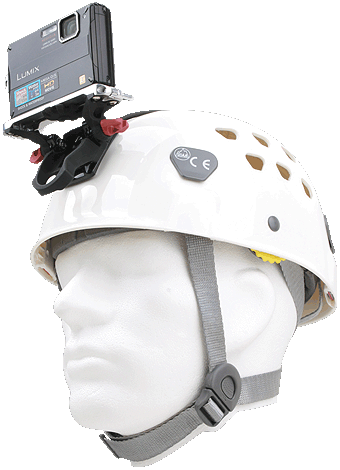 Petzl Helmet with Camera attached
