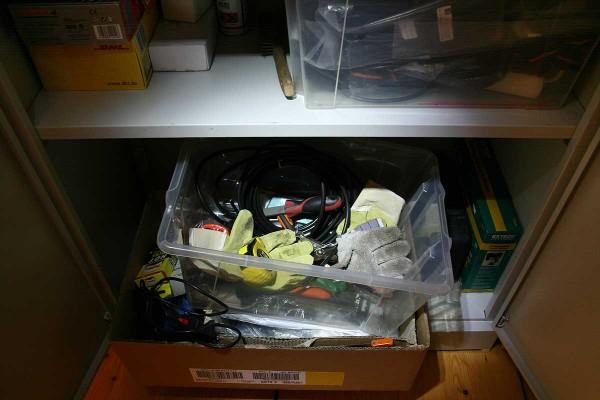 Storage box with tools