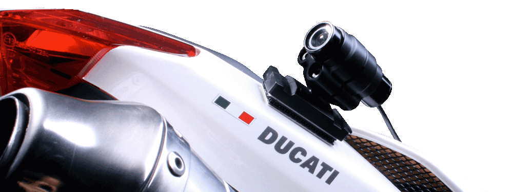 Ducati Motorrad mit Blackeye One Action Kamera montiert
