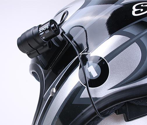 Sixsixone Helm mit Blackeye One Action Kamera von hinten