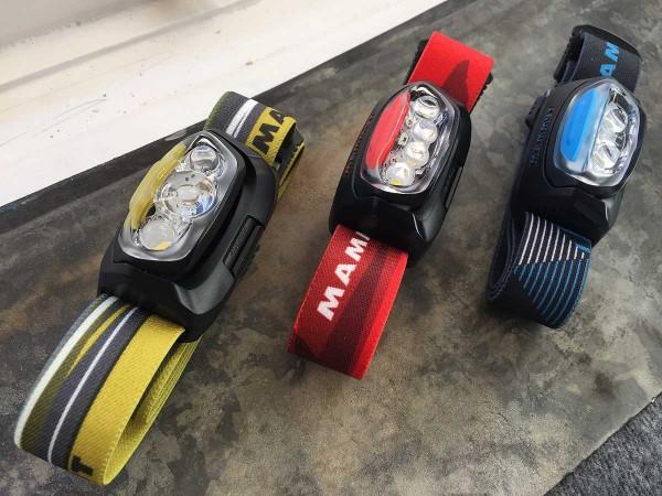T-Line Stirnlampen aufgereiht