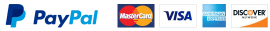 Logos of Paypal Mastercard Visa Amex Discover