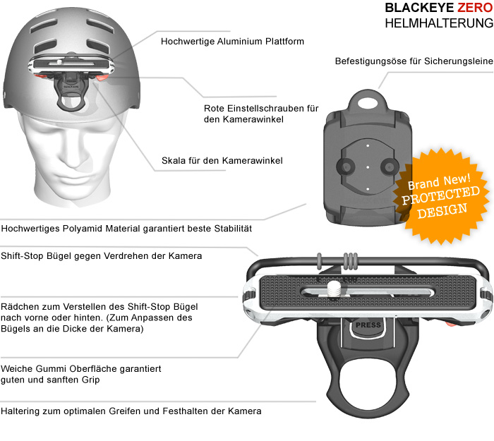 Übersicht über die Eigenschaften der Kamera Halterung für den Helm