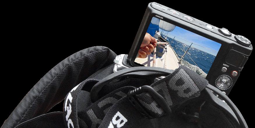 Kopf Halterung und Kamera mit Video vom Segeln