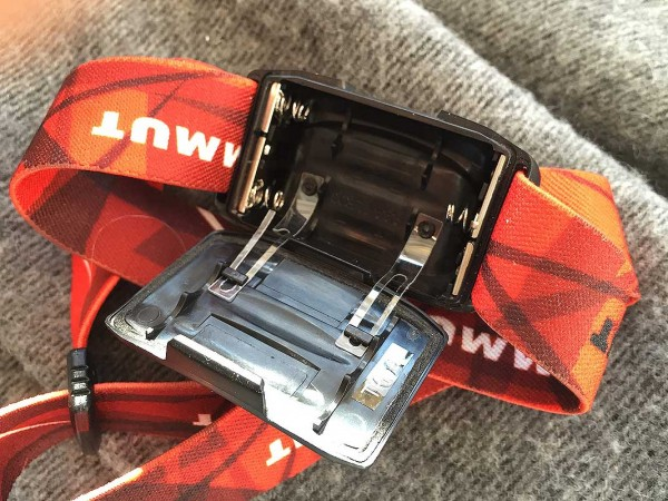 T-Trail headlamp AAA battery compartment