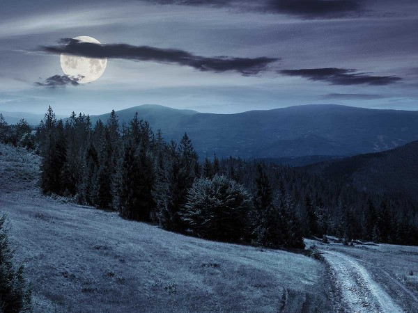 Landscape under full moon