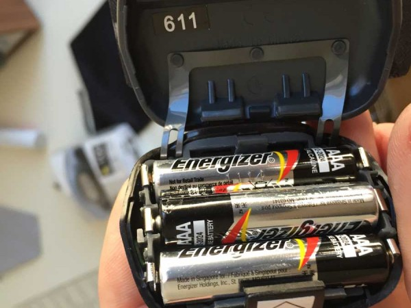 3 AAA batteries in the Cosmo
