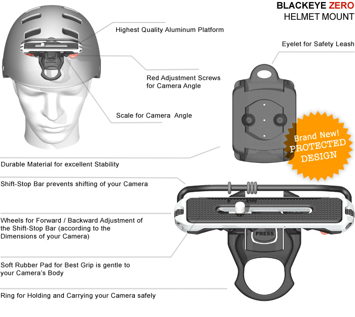 Illustration showing the technical features of the helmet clip mount for digital cameras