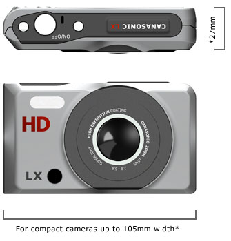 Illustration of digital compact camera with over all dimensions