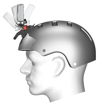 Illustration showing the helmet clip mount and the range of directions for camera adjustment