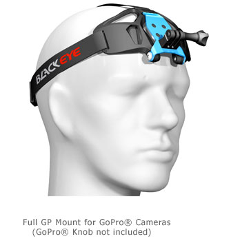 Illustration of head with camera head strap mount for GoPro cameras