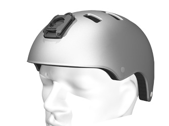 Illustration of helmet adapter attached to a helmet